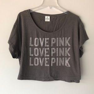 VS Love Pink Bling Crop Tee